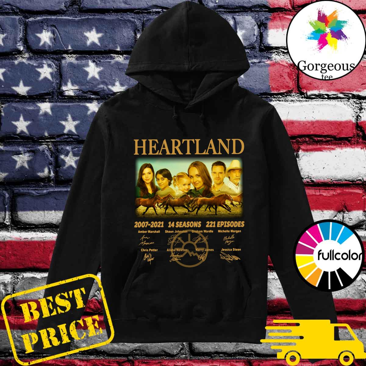 Official The Heartland Movie 2007 2021 14 Seasons 221 Episodes Signatures Shirt Hoodie