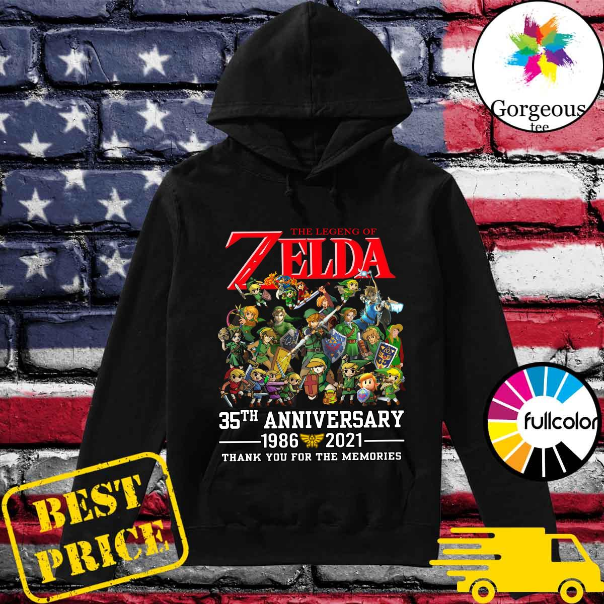 Official The Legend Of Zelda 35th Anniversary 1986 2021 Thank You For The Memories Shirt Hoodie