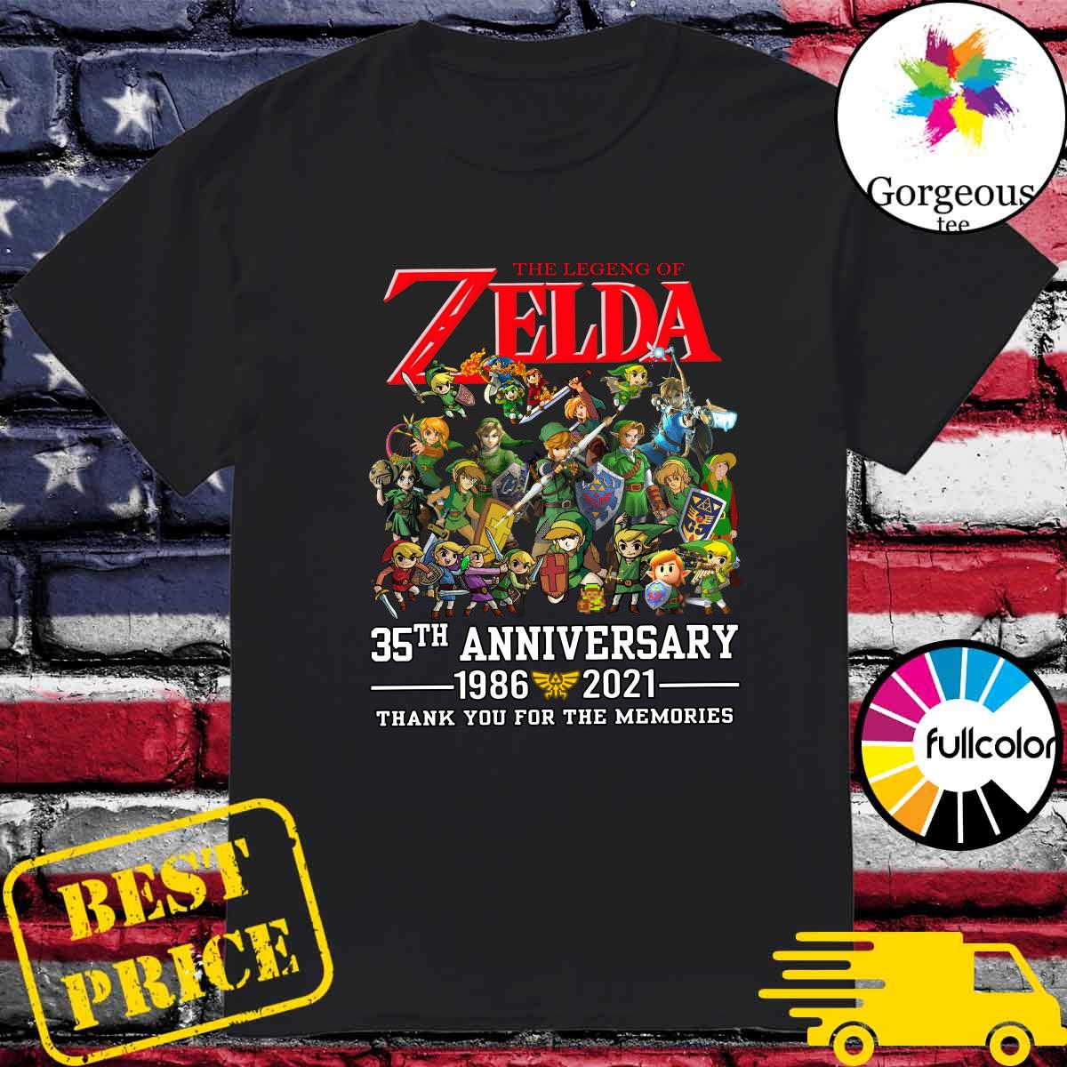 Official The Legend Of Zelda 35th Anniversary 1986 2021 Thank You For The Memories Shirt
