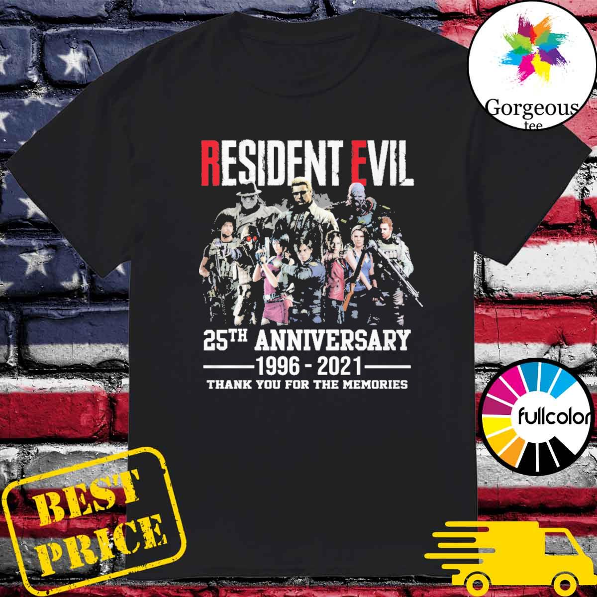 Resident Evil 25th Anniversary 1996 2021 thank you for the memories shirt