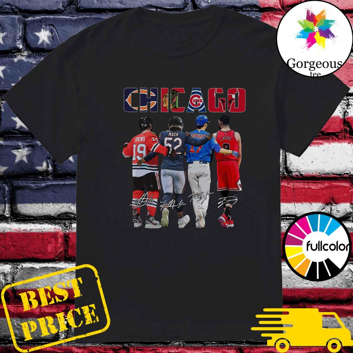 Chicago Sports Team Signatures With Chicago Bears, Chicago Blackhawks, Chicago Cubs, Chicago Bulls Shirt