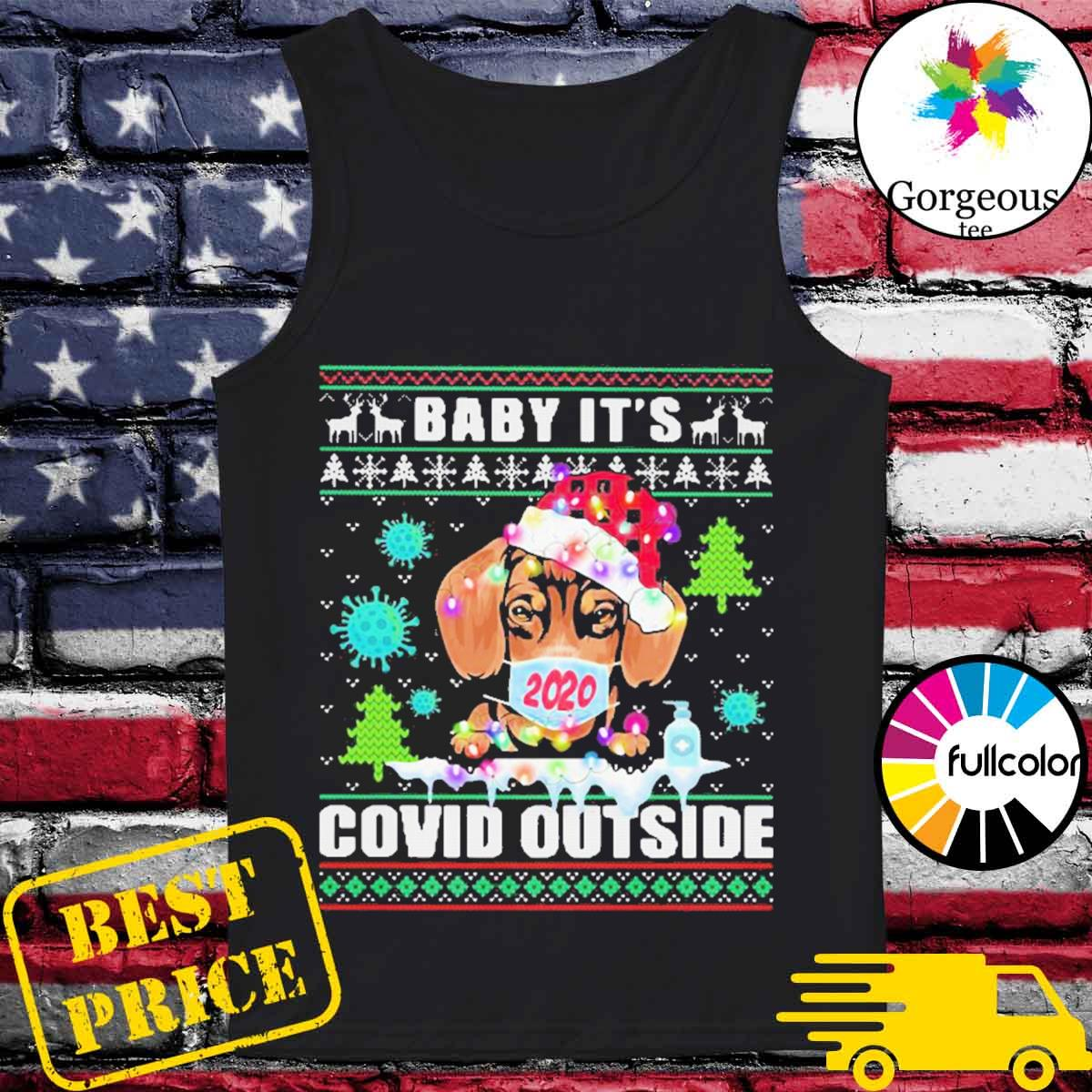 Baby it's covid outside chihuahua wear hat santa with mask ugly Christmas sweater Tank-top