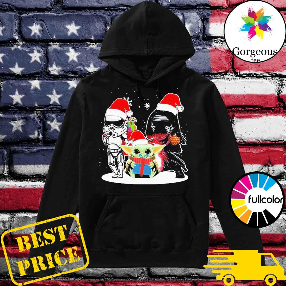 Baby Yoda and Darth Vader Stormtrooper merry Christmas light s Hoodie