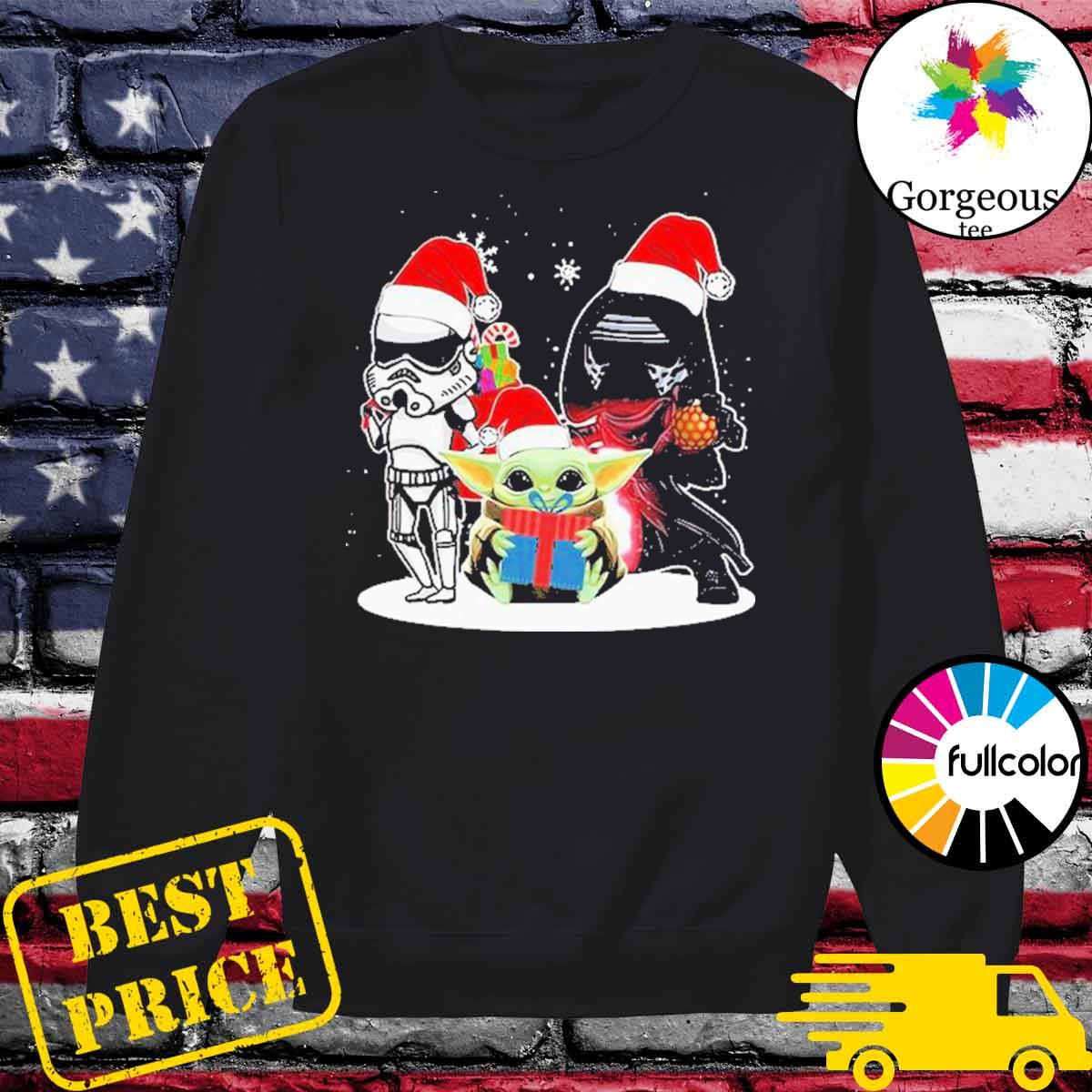 Baby Yoda and Darth Vader Stormtrooper merry Christmas light s Sweater