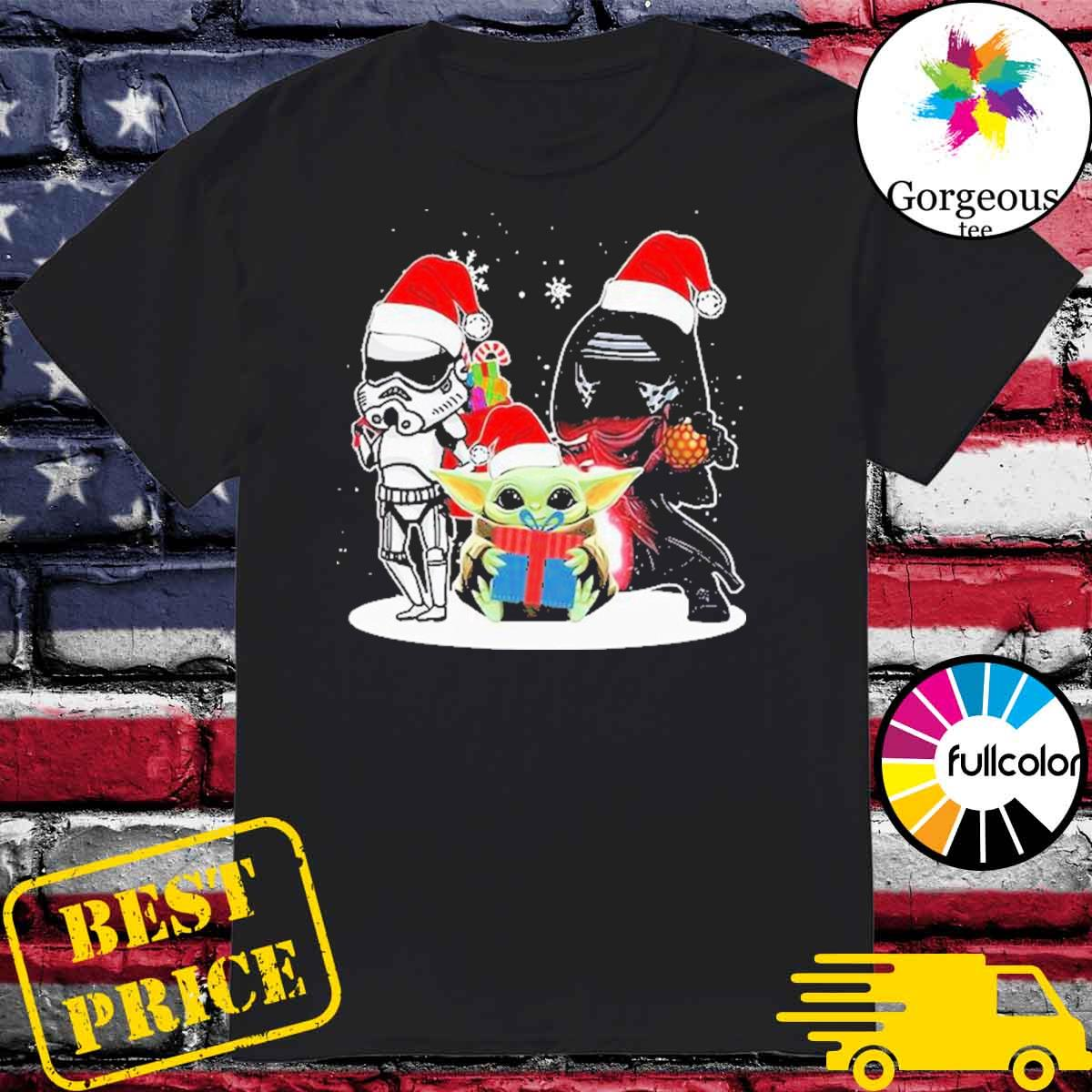 Baby Yoda and Darth Vader Stormtrooper merry Christmas light shirt