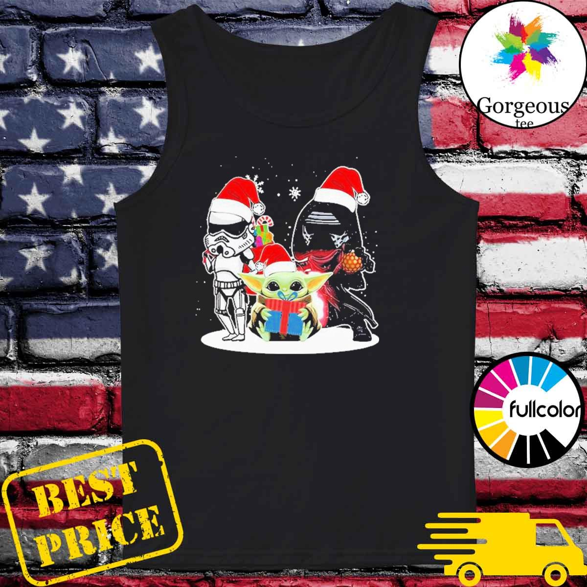 Baby Yoda and Darth Vader Stormtrooper merry Christmas light s Tank-top