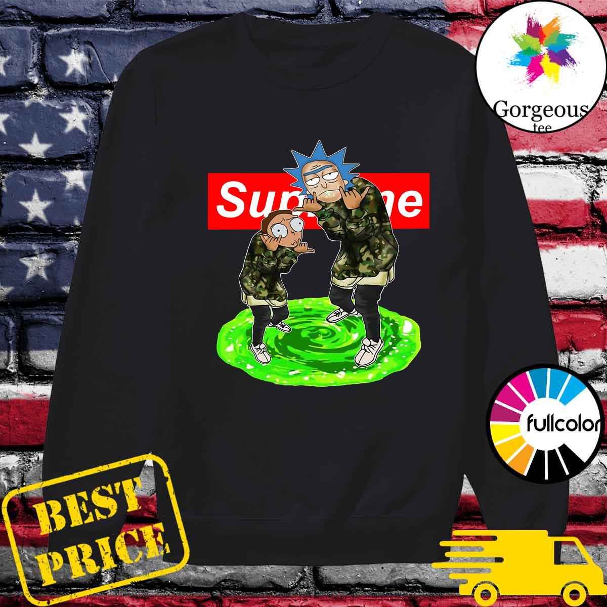 Supreme Logo With Rick And Morty 2021 Shirt Sweater
