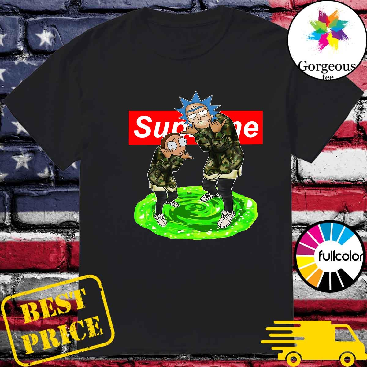 Supreme Logo With Rick And Morty 2021 Shirt
