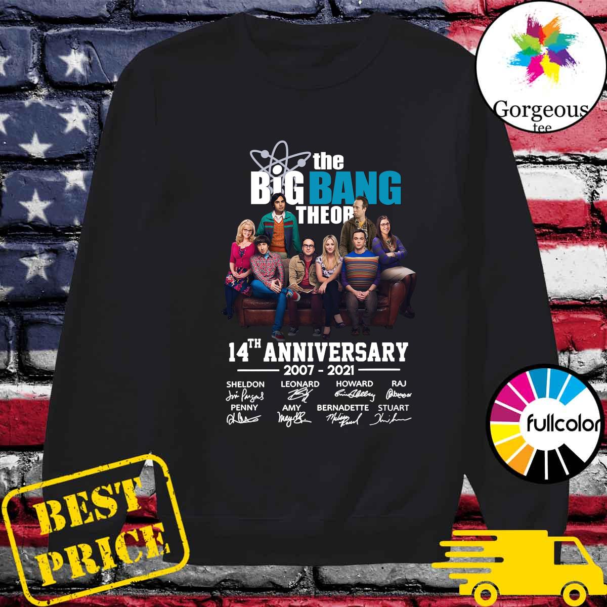 The Big Bang Theory 14th Anniversary 2007 2021 Signatures Shirt Sweater