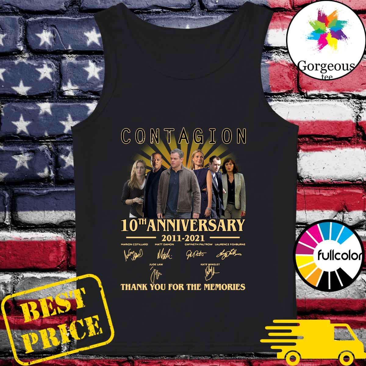 The Contagion 10th Anniversary 2011 2021 Signatures Thanks For The Memories Shirt Tank-top